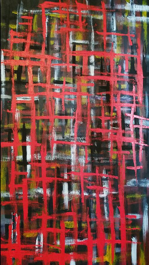 Near Dark 2018 Joe Wallace abstract expressionist acrylic on wood